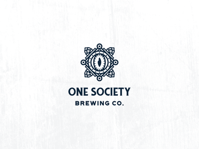 One Society Brewing Logo line art eye mystic microbrewery craft brewery craft beer beer hops brewery branding brewers brewery logo brewery design modern vintage clean branding geometric logo design logo