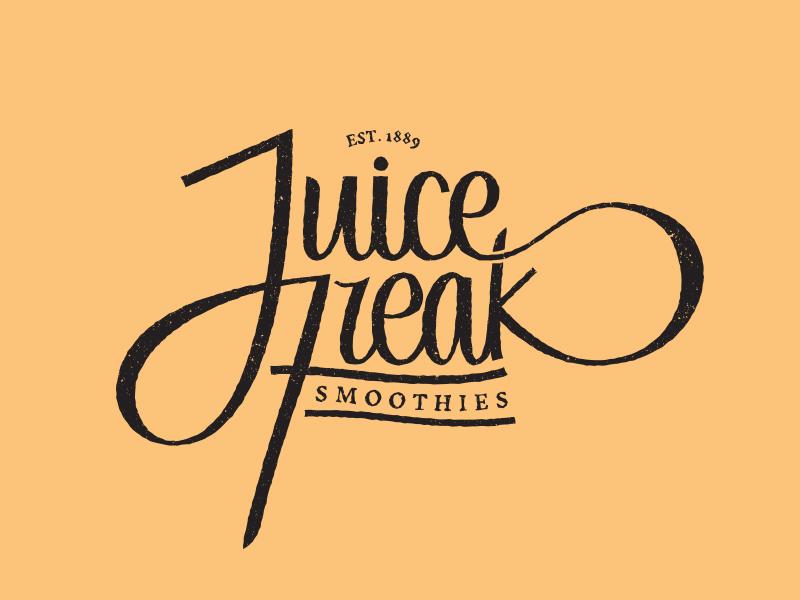 Juice Freak Smoothies lettering typography