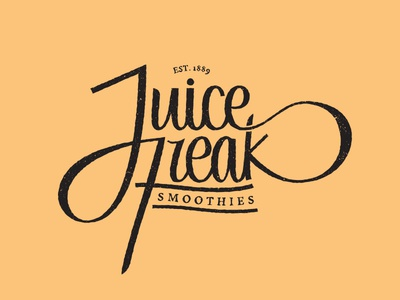 Juice Freak Smoothies lettering typography
