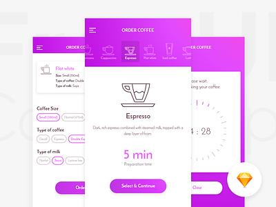 CaffeIn App Freebie timer icons order coffee iphone ios sketch freebie