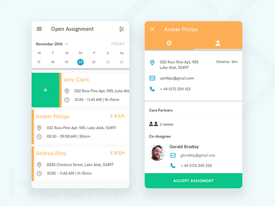 Helpr Android App – Open Assignments View healthcare health social care android tags: sketch
