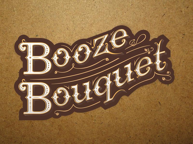 Booze Bouquet Logo beer modern bold ornamental hand lettering new entrepreneur booze bouquet branding logo