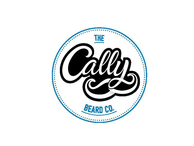 Cally Beard Co. Logo barber male grooming contemporary mustache hand lettering illustrator vector branding logo cally beard