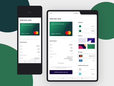 💵 Foldable Banking Concept: New card credit card banking product design mobile app android galaxy finance foldable ui ux minimal fintech