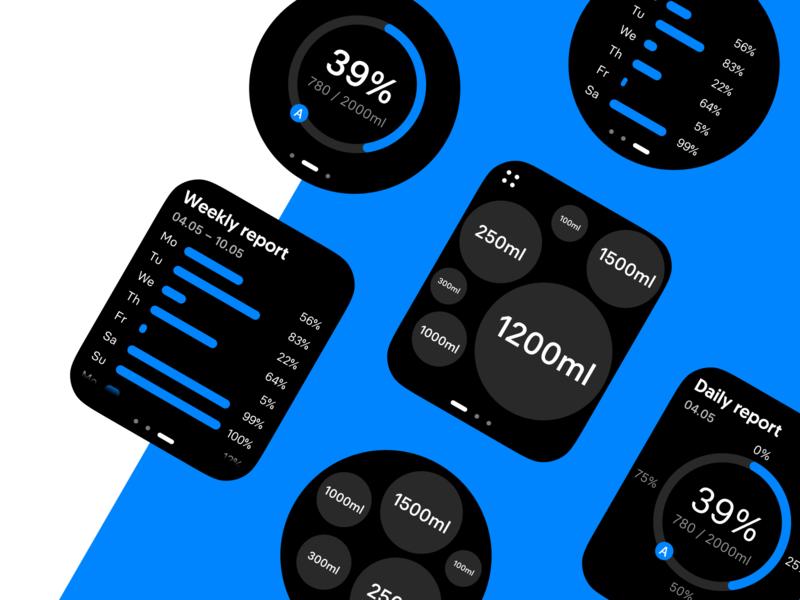 Watch OS: Water analysis product design minimal watchos wearable app ux ui watchface watch