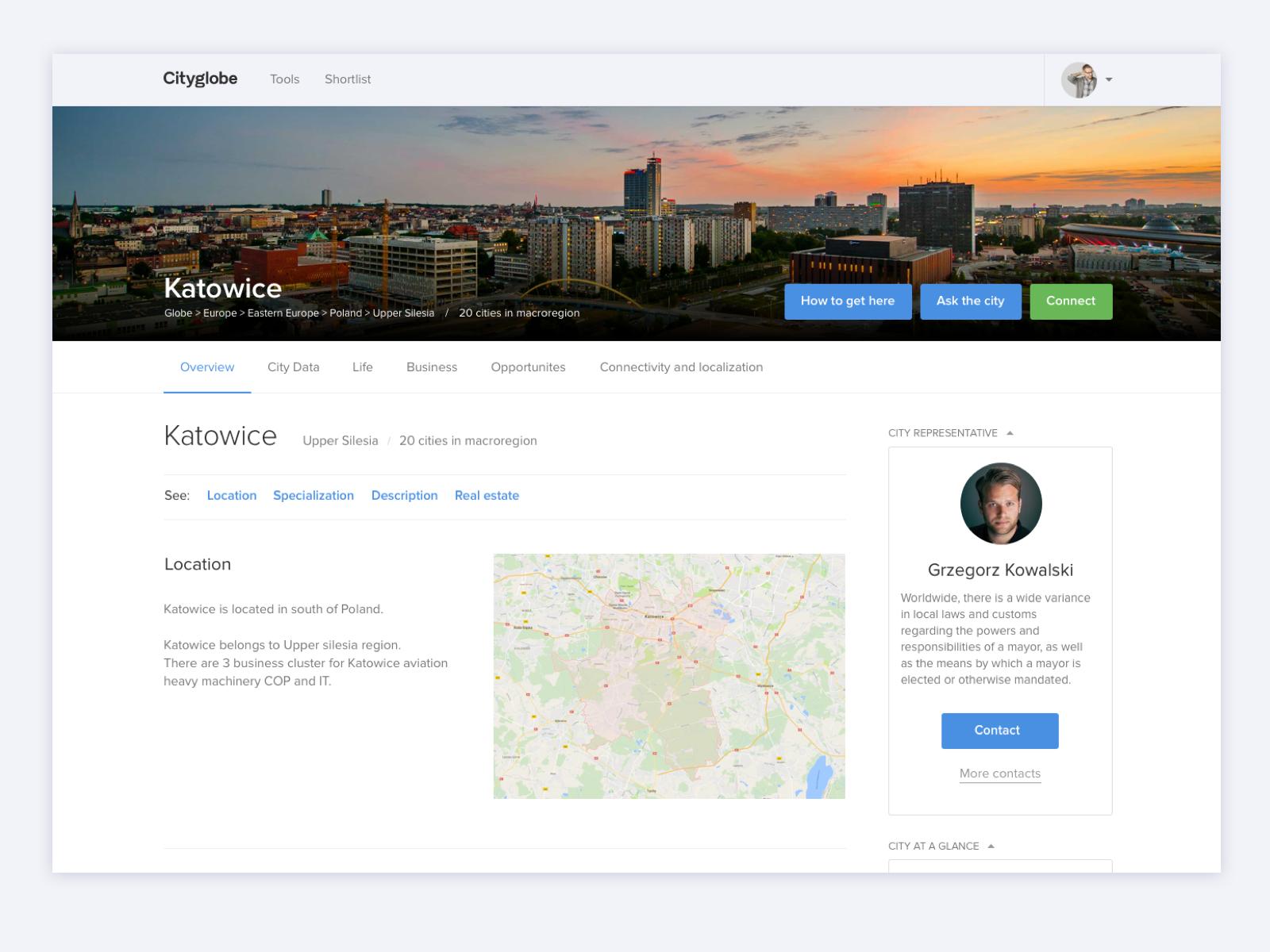 Cityglobe – City analytics profile city ui desktop web