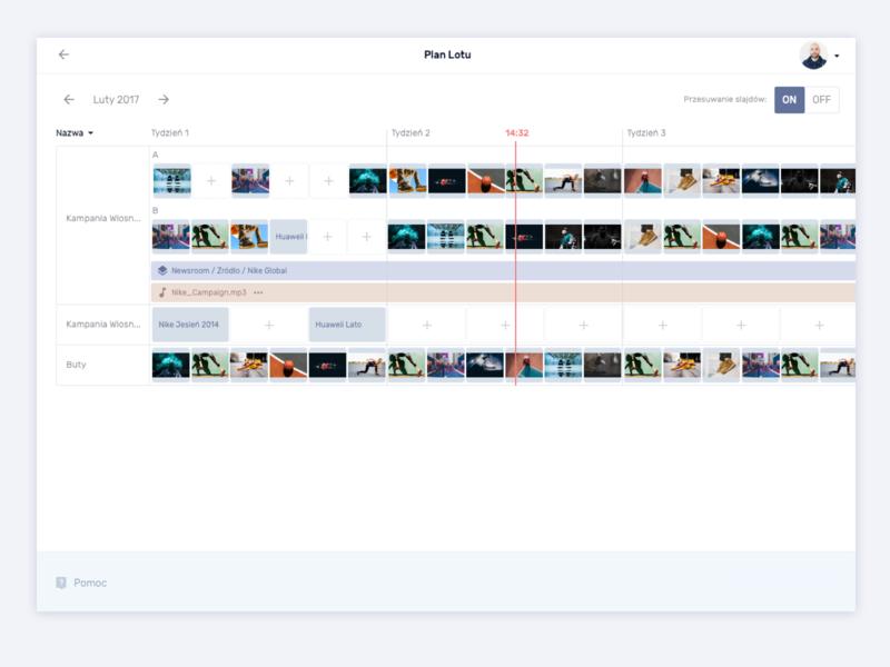 Media Player management outdoor advert timeline time media flight app desktop web ui