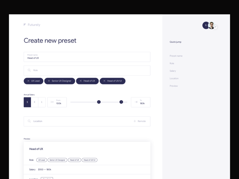 Futurely – create new preset clean inspiration ux system offer job hr minimal app desktop web ui
