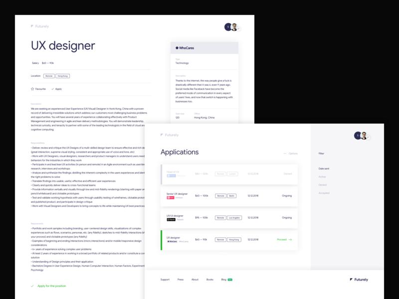 Futurely – Offer / Applications clean inspiration ux system offer job hr minimal app desktop web ui form website minimalism