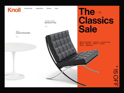 Knoll – redesign concept table chair product knoll brutal minimalism brutalism minimal desktop web ui