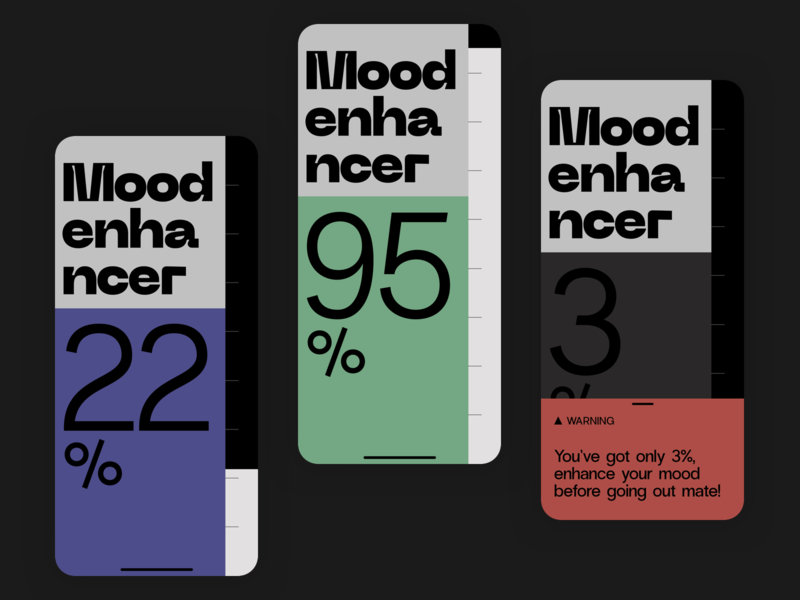 Mood enhancer ux  ui ux ui product minimal ios slider mobile app