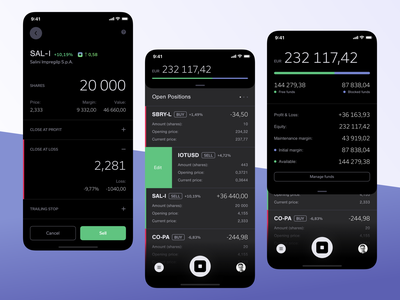 StockAdvisor – positions, orders and funds funds account balance ui ux fintech minmal mobile app bot stock market ios product finance
