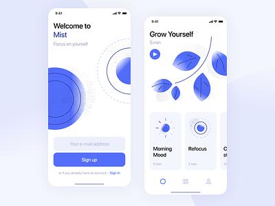 💆♂️ Mist Meditate minimal mobile iphone x mind mindfulness meditation ux ui ios interface illustration icons graphics design app