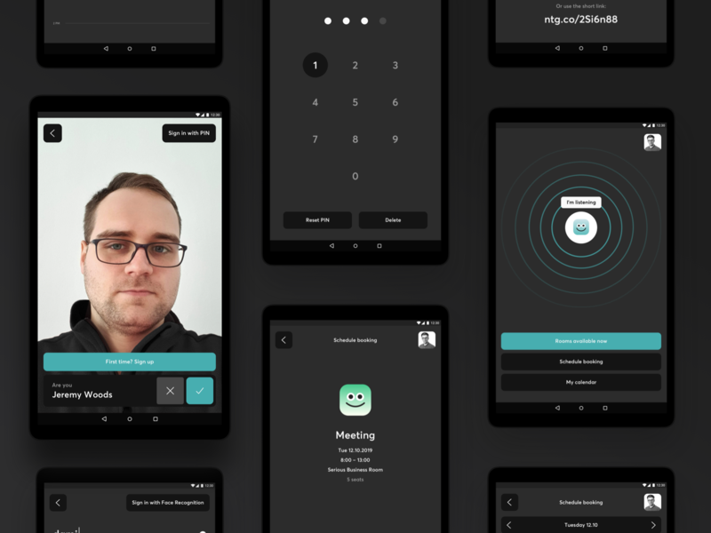 Smart Display: UI face recognition machine learning web ux ui interaction tablet app dark mode dark theme dark app android