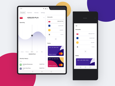💰 Foldable Banking Concept: Accounts galaxy android fintech app analytics account foldable fold fintech design mobile minimal ux app ui