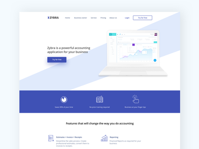Zybra Landing page bootstrap ux ui webapp website web design