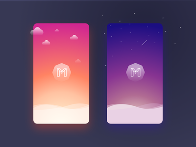 Mokko labs Day and Night concept logo cloud stars 2017 ui ios vector gradient night day