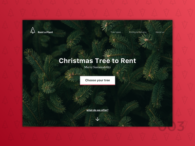 Rent a Plant. Landing page concept christmass landing page desktop daily ui above the fold