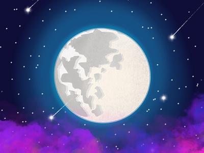 Hello there beautiful moon digitalart procreate illustration design