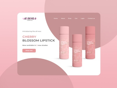 Aurora cosmetics landing page ux website apparel flat minimal product design web ui branding design