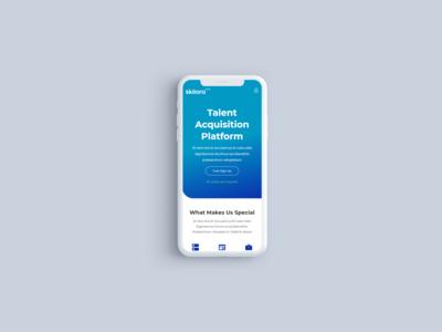 Skilora talent acquisition platform landing page mobile view