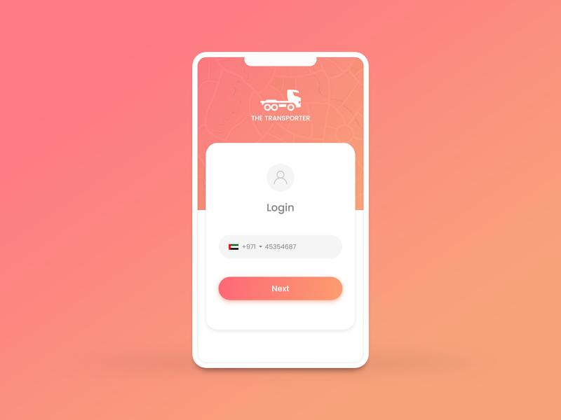 Transporter App Login gradient app design app ux logo design adobe xd xd adobe ui mockup design