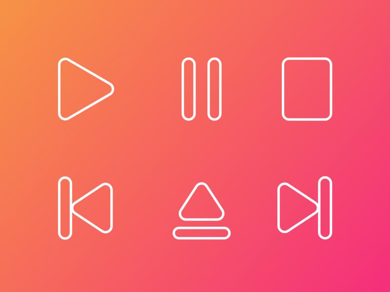 Music Player Icons xd design line icons minimal icons minimalistic minimalism minimal iconography media player icons media player icon design icon set icons icon adobe xd xd design
