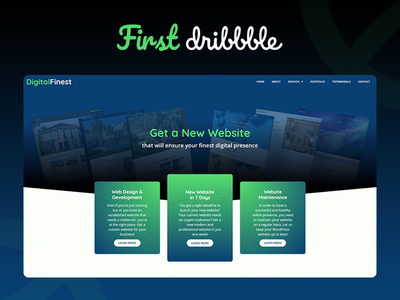 Digital Finest landing page - my first Dribbble landing page ux web design