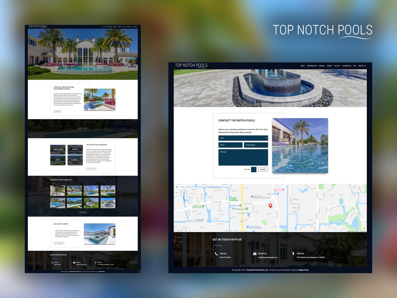 Top Notch Pools website redesign redesign-tuesday redesign miami pools developement web design ux web design landing page