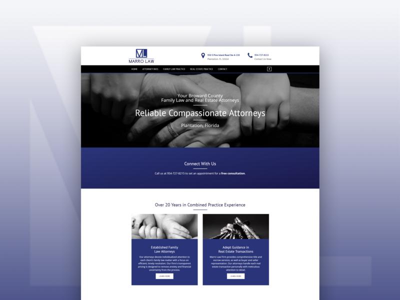 Marro Law Redesign florida attorneys lawfirm web redesign developement design web design ux landing page