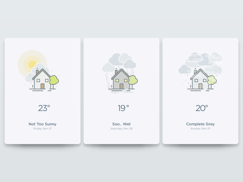 Weather UI minimalist intro screen walkthrough onboard app mobile android ios weather card ui