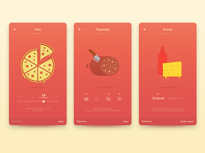Pizza App mobile app ketchup pepperoni cheese pizza ios android ui app
