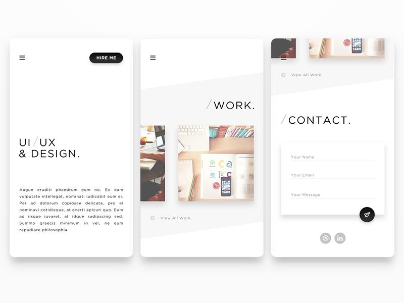 Portfolio minimalism clean black white portfolio minimal minimalist android ios app mobile