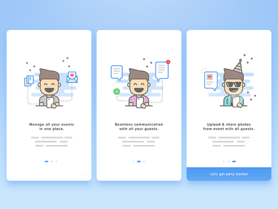 Onboarding invitation android ios ui card onboarding man boy male character illustration avatar
