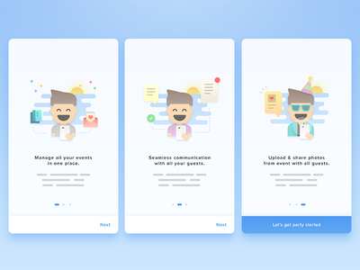 Onboarding avatar illustration character male boy man onboarding card ui ios android invitation