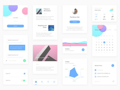 Minimal UI Kit application mobile freebies sketch website simple white clean minimal android ios ui kit