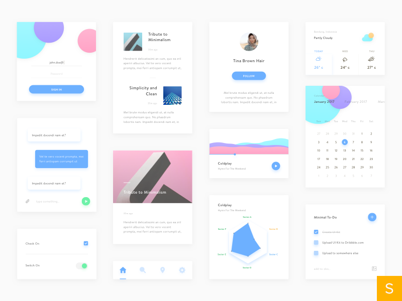 Minimal UI Kit application mobile freebies sketch website simple white clean minimal android ios ui kit