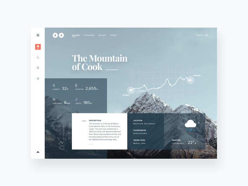Travel Dashboard Exploration dashboard mountain web ux ui nature website landing page header design clean