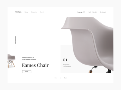 Furnitura Website e-commerce blog website landing page simple clean white furniture minimal ux ui app