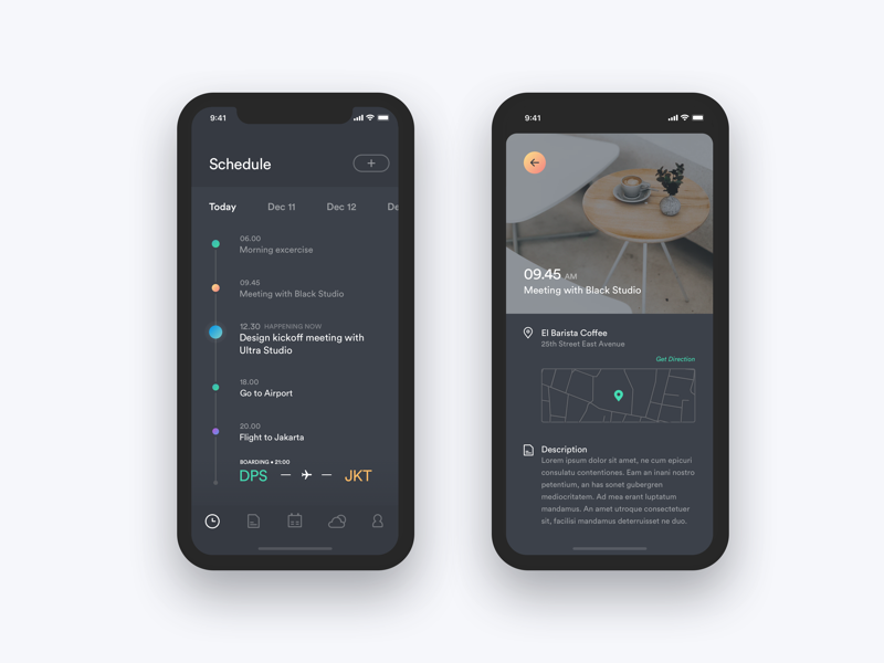 Task Schedule Memo Weather landing page minimal dashboard iphone x ios ui weather memo timeline schedule task calendar