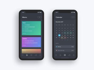 Task Schedule Memo Weather calendar task schedule timeline memo landing page weather ui ios minimal dashboard iphone x