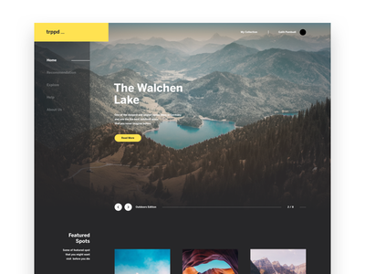 Travel Blog Exploration clean modern dark walchen lake blog travel ux ui website dashboard landing page