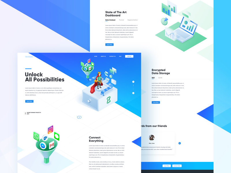 Landing Page isometric portfolio principle transition animation illustration ux ui website dashboard landing page