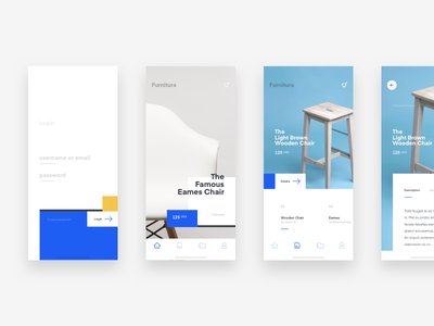 Furnitura App e-commerce blog website landing page simple clean white furniture minimal ux ui app iphone