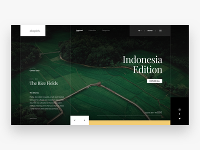 eksploh. Landing Page rice fields green central java ux ui indonesia dashboard landing page simple website
