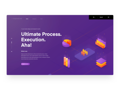 Landing Page dashboard design studio research chart graph agency isometric illustration landing page website android ui ios