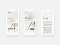 Furnitura App eames furniture dashboard minimal simple landing page website clean android ui ios