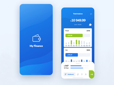 My Finance UI Kit Splash and Dashboard app design usability user interface user experience iphone ios ux ui app mobile