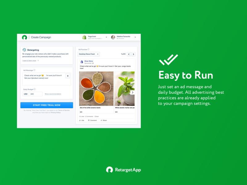 App page on Shopify app store. RetargetApp dashboard onboarding shopify marketing ui ux product design app design listing page presentation