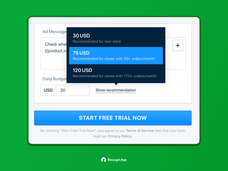 Daily budget recommendation tool-tip. RetargetApp ecommerce shopify daily budget suggestion recommendation tool-tip create campaign retargetapp web app ui interface ux product design
